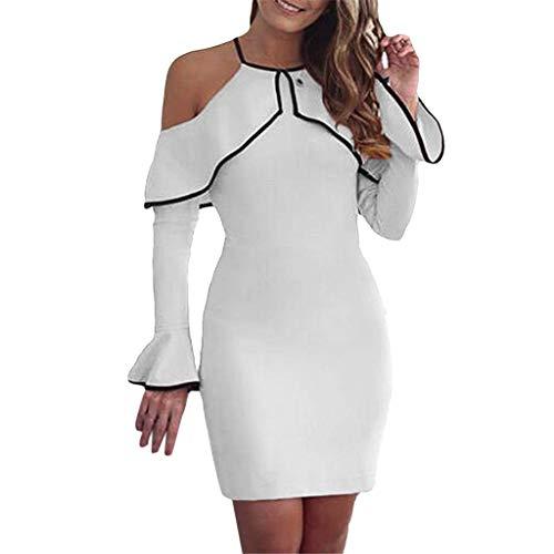 SANFASHION Damen Minikleid,Frauen Sexy Schulterfreies Minikleid Party Stretch Abend figurbetontes Kleid