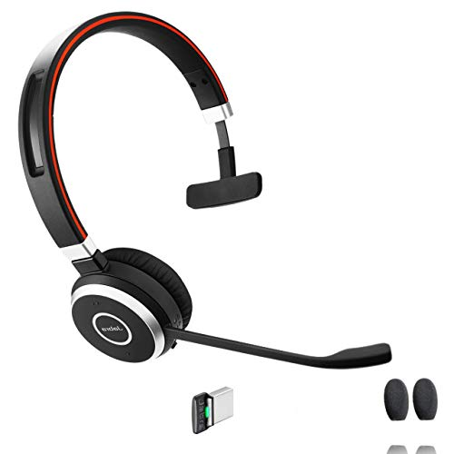 Global Teck Bundle of Jabra Evolve 65 Bluetooth Mono MS Headset, Compatible with Voice and Video App - Teams, Zoom, Webex, Meet and More, with Microphone Cushions, 6593-823-309