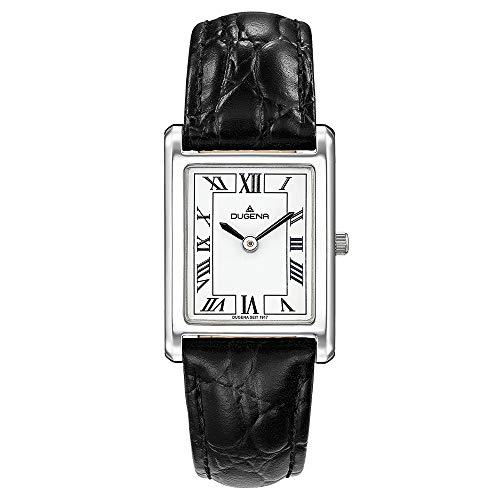 DUGENA Damen-Armbanduhr 4460700 Quadra Classica, Quarz, weißes Zifferblatt, Edelstahlgehäuse, gehärtetes Mineralglas, Lederarmband, Dornschließe, 3 bar