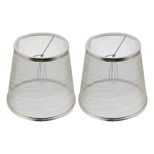 Uonlytech 2 piezas de tela para pantalla de lámpara, clip en la bombilla, barril de tela, cubierta para lámpara de mesa, candelabro, lámpara de pared, lámpara de pie (dorado)