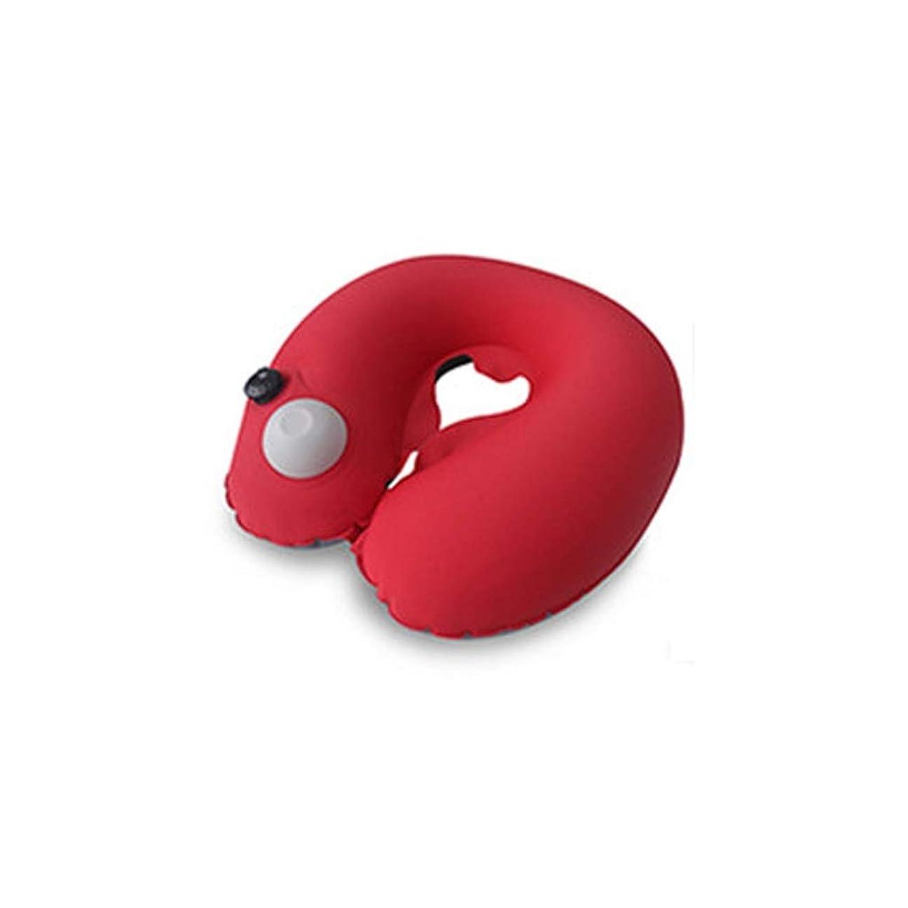 YYFRB U字型枕押されたインフレータブルトラベルネックピロー頚椎枕ポータブルクールオフィス仮眠枕 U字型枕 (Color : A)
