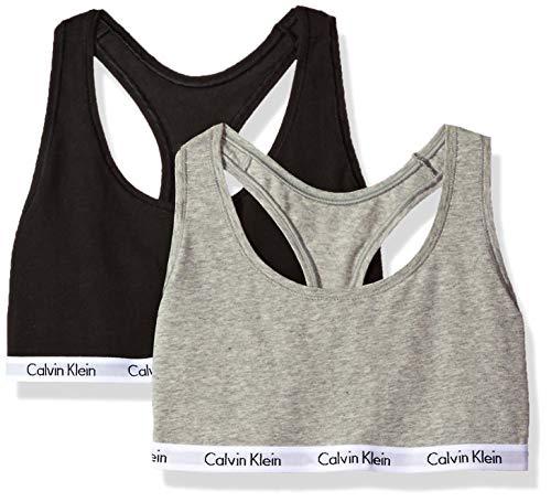 Calvin Klein Women's Carousel 2 Pack Bralette, Black/Grey, M