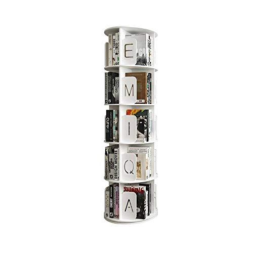 N / C Libreria Girevole, libreria in Legno e plastica, 62 in Altezza Girevole a 360 ° Impermeabile, Collezione di mobili Decorativi per Soggiorno Ufficio-Bianco