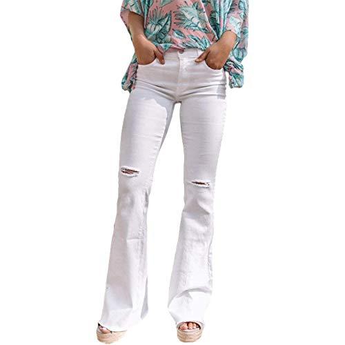 Pantalones Vaqueros Acampanados Rasgados de Color sólido para Mujer, Pantalones de Mezclilla Ajustados a la Moda Informal de Trabajo de Oficina de Cintura Alta L