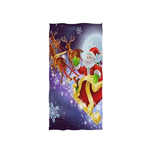 WowPrint Fröhlich Weihnachten Motiv Handtuch Strandhandtuch, Leicht, Weich Microfaser Badetücher, Dekoration Hand Handtücher für Küche Zuhause Bad Spa Fitnessstudio Hotel (76 x 38 cm)
