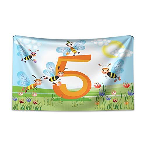 ABAKUHAUS Aantal Wandtapijt, Gelukkig Bijen maken honing, Stoffen Muurdecoratie voor Woonkamer Slaapkamer Slaapzaa, 230 x 140 cm, Veelkleurig