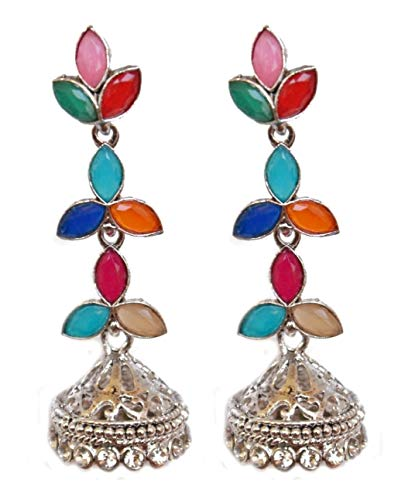 Pahal - Pendientes largos de plata oxidada con diseño de hojas de Kundan multicolor