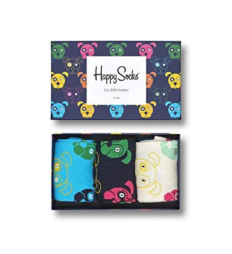 Happy Socks, bunt premium baumwolle Geschenkkarton 3 Paar Socken für Männer & Frauen, Dog Gift Box (36-40)