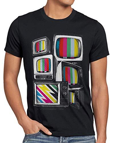 style3 Vintage Testbild Herren T-Shirt Monitor Retro Fernseher tv, Größe:4XL, Farbe:Schwarz