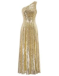 One Shoulder Maxi Sequin Gold Gown