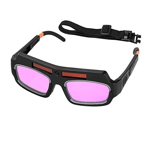 Gafas de Soldadura de Oscurecimiento Automático, Gafas de Soldador de Energía Solar Gafas con Cordón Ajustable, Gafas de Soldador Antideslumbrantes Antiniebla Gafas Máscara Casco