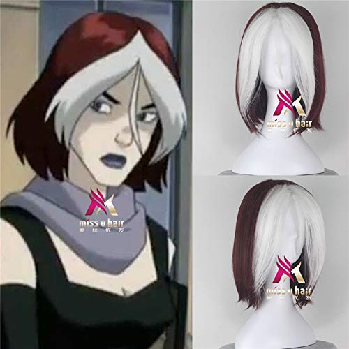 X-Men: Rogue Wig Hair Costumes Anna Marie Short Wig Red and White Women Cosplay Wig + Wig Cap