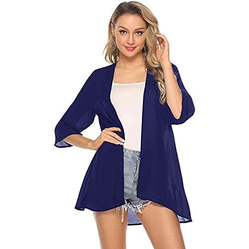 YYH Chiffon sjaalkraag voor dames, van chiffon, bloemenboho, zomervest, Kimono blouse M C