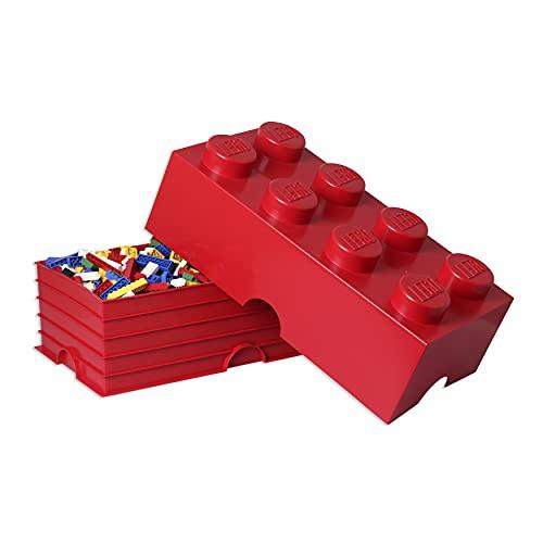 Brique de rangement LEGO 8 plots, Boîte de rangement empilable, 12 l, rouge