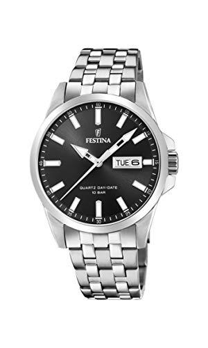 Festina Herren Analog Quarz Uhr mit Edelstahl Armband F20357/4