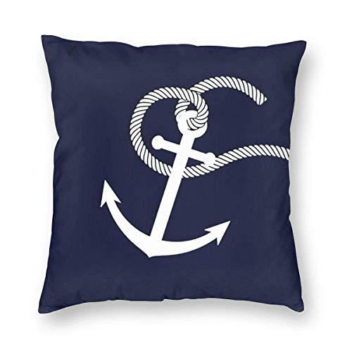 136 Fundas de almohada decorativas de 45 x 45 cm, diseño de ancla de barco de dibujos animados azul profundo océano, fundas de almohada cuadradas para sofá de coche, decoración del hogar