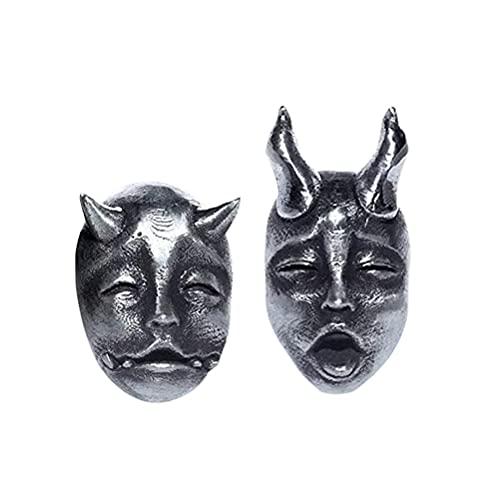 Pendientes góticos punk, exquisitos tallados a mano/aleación de aluminio/plata negro Cool Rock Pendientes Halloween Pendientes para mujeres y hombres