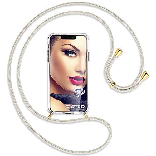 mtb more energy Collana Smartphone per Google Pixel 5 (6.0'') - Bianco Sporco/Oro - Custodia indossabile per Collo - Cover a Tracolla con cordina