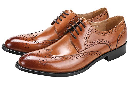 Mens Dress Shoes Wingtip Brogue Oxford for Men Classic Formal Leather Lace Up Derby Shoes Tan 5 US
