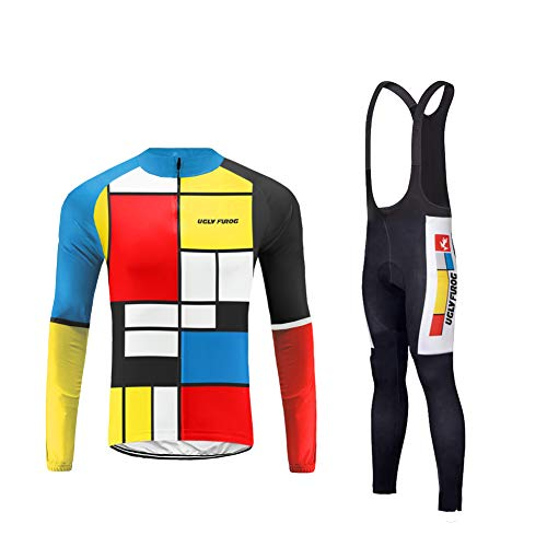 Uglyfrog Homme Maillots de Cyclisme Vélo VTT Vêtements Veste Manches Longues Pantalons Séchage Respirant Thermo Hiver