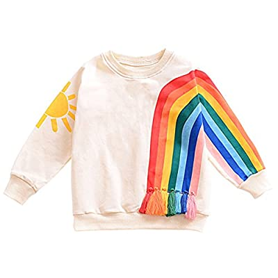 Little Girl Sweatshirt Toddler Rainbow Graphic Print Long Sleeve Shirt Kid Beige Pullover 2T