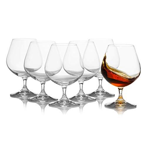 Crystalex - Juego de 6 vasos de cristal de coñac, elegantes y duraderos, 400 ml