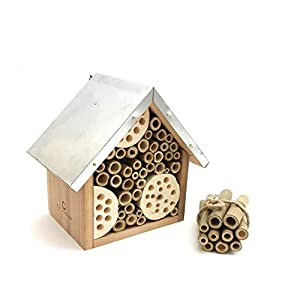 LA JONAE Bee Insect Bug House Hotel Home Cottage made from Natural Wood & Metal Roof for your Garden Patio Balcony Complete with Bonus Bamboo Tubes Hanging Hook and Twine Loop Kit