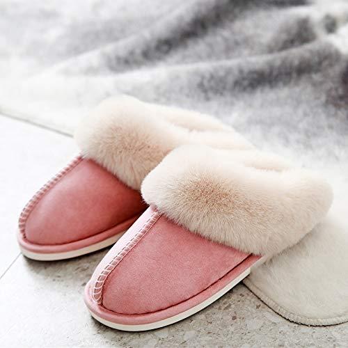 sjzwt Luxus Faux Wildleder Home Frauen Full Pelz Hausschuhe Winter Warm Plüsch Schlafzimmer rutschfeste Paare Schuhe Indoor Damen Pelzige Hausschuhe (Color : 3, Shoe Size : 40 and 41)