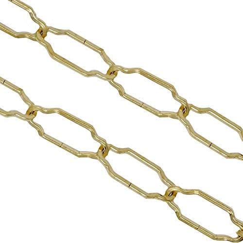 1,5m Lampenkette ø 3,0mm Messing poliert geschweift Vierkant-Profildraht Kette Tragkraft 5kg Zierkette Gold Eisenkette strukturiert