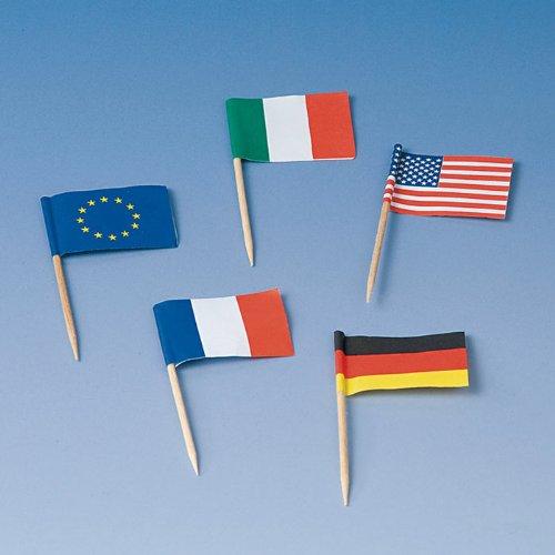 tib 10400 Flaggenpicker verschiedene Nationalitäten 50 Stück pro Box, mehrfarbig, One Size