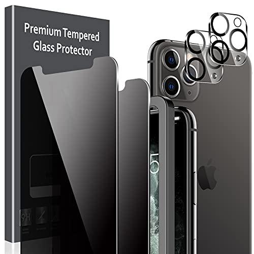 LK Compatible con iPhone 11 Pro MAX 6.5 Pulgada Protectora de Privacidad, 2 Pack Cristal Templado y 2 Pack de Protector de Cámara Película Protectora de Pantalla Negra