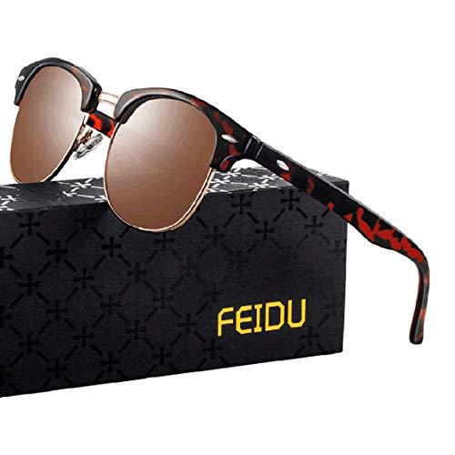 FEIDU Halbrahmen Polarisierte Klassische Metall Sonnenbrillen Herren-Retro Polarisierte Sonnenbrille Damen FD 3031 (Leopard-Brown, 2.04)