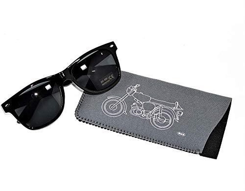 Unbekannt Sonnenbrille schwarz mit Simson Schriftzug + Brillenetui Neopren mit Simson Motiv S51
