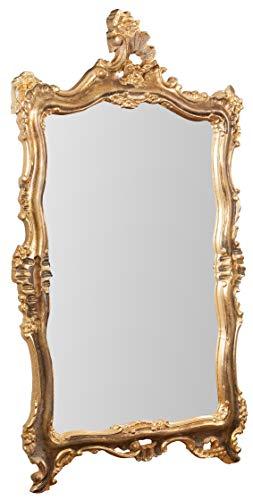 Biscottini Specchio da Parete Stile Shabby in Legno con Finitura Foglia Oro Anticato...