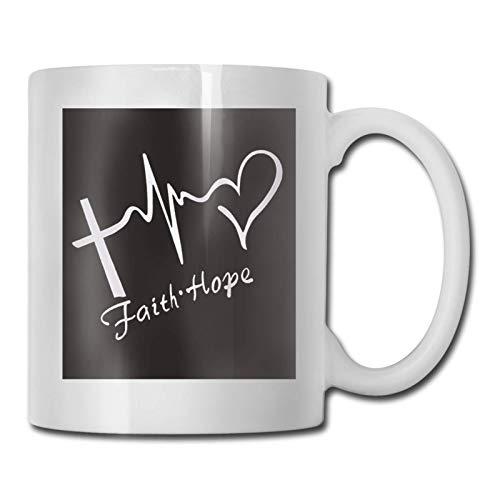 N\A hite Faith Hope Taza de té de café de cerámica Impresa Agua Té Bebidas Taza Caliente y fría