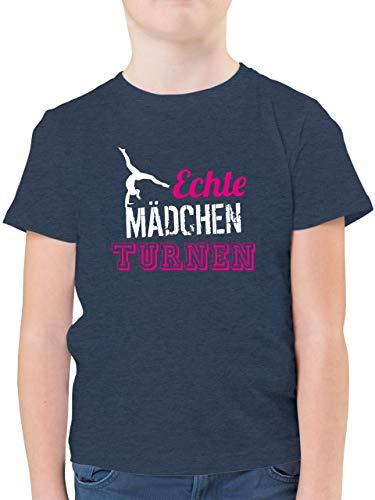 Sport Kind - Echte Mädchen Turnen - 128 (7/8 Jahre) - Dunkelblau Meliert - t-Shirt Turnen - F130K - Kinder Tshirts und T-Shirt für Jungen