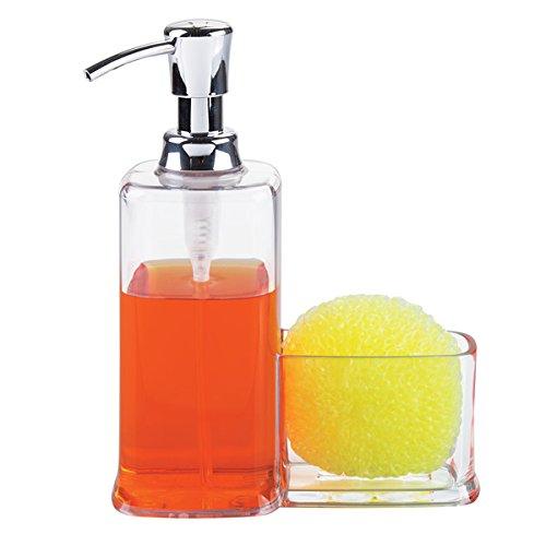mDesign dispensador de jabón Recargable con Capacidad de 473 ml - Dosificador de jabón Hecho de plástico Resistente - con portaestropajos