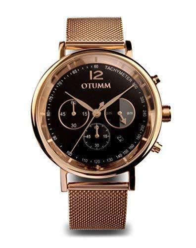 OMOM Mesh Uomo Oro Rosa Chrono 43mm Quadrante Nero MEMCHR02 Unisex Mesh Watch