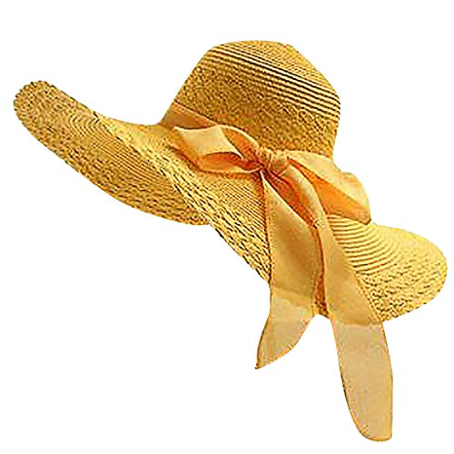 TOTOD Fashion Women Colorful Big Brim Straw Bow Hat Sun Floppy Wide Brim Hats Beach Cap Yellow