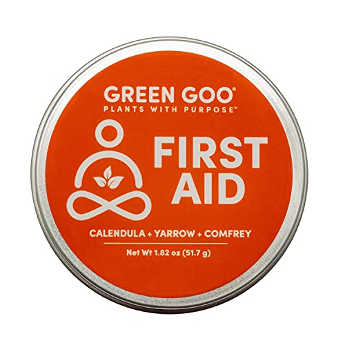 Green Goo Natural Skin Care for Cracked Hands and Feet, White, First Aid, Large Tin, 1.82 Ounce