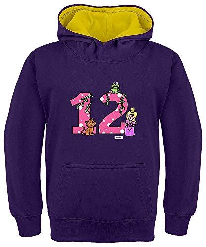 Sudadera con capucha para niños de Hariz, con contraste de princesa y cuento de hadas, 12 cumpleaños morado / amarillo 12 años
