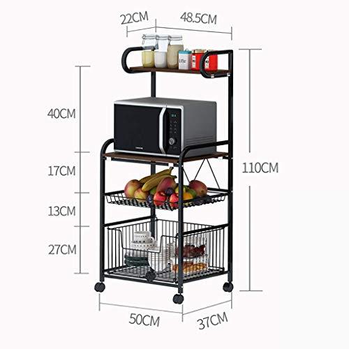 Nfudishpu Hochleistungs-Küchenwagen mit Rädern, 3/4-stufiger Küchen-Servierwagen Zum Laden von Obst und Gemüse, Wohnzimmerdekoration