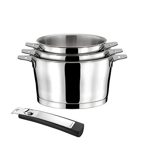 Cuisinox Asana - Série de 3 casseroles 16/18/20cm inox avec poignée