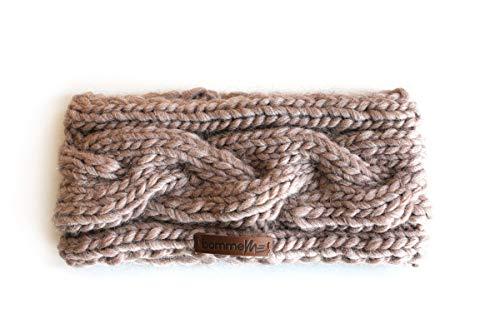 bommelME 'Stirnband Handmade kuschlig warmes Wollstirnband mit Zopfmuster, Strickstirnband aus Merino Wolle, Farbe: Sand