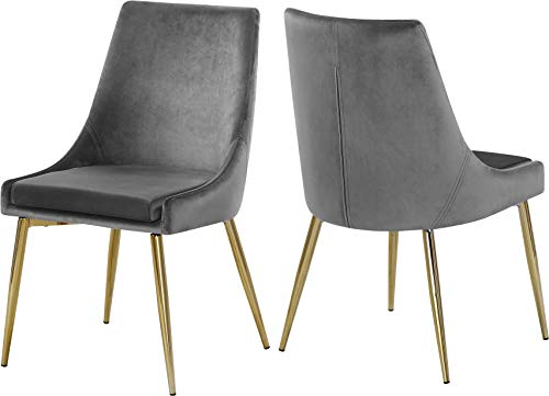"Meridian Furniture Karina Collection Modern | Contemporary Velvet Upholstered Dining Chair with Sturdy Metal Legs, Set of 2, 19.5"" W x 21.5"" D x 33.5"" H, Grey"