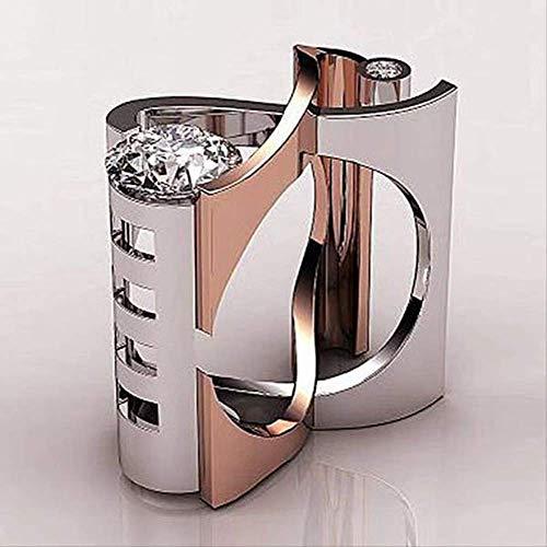 IWINO Koper Galvaniseren Modetrend Persoonlijkheid Alternatieve sieraden Geometrische driedimensionale diamanten ring