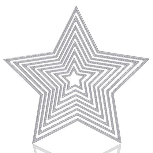 WOWOSS 8 Stück Schneidevorlagen Kohlenstoffstahl Stanzschablonen Metall Stanzformen Stern Form Schneiden Kit (Pentagramm)