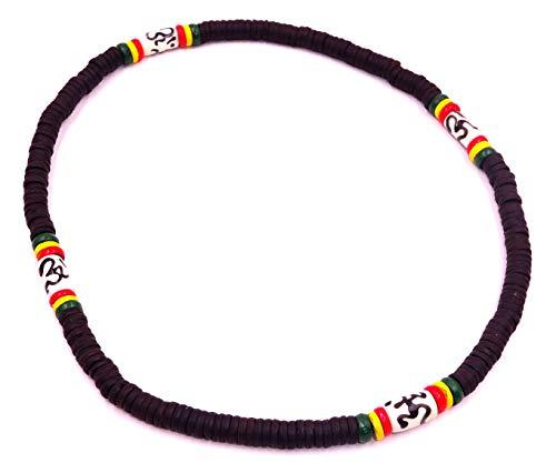 Collar surfista étnico de cuerno de madera, perlas de madera de coco tribal para hombre, mujer o niño, negro