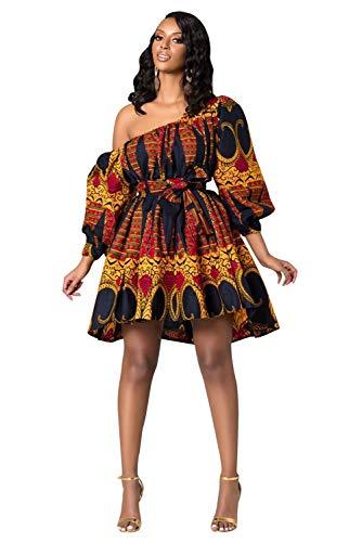 Vestito Monospalla Donna Fiori Abito Manica Palloncino Caftano Boho Chic Vestiti Africani Eleganti Kaftano Rtnico Retro Swing Abiti A Ruota Anni 50 Tunica Spalle Scoperte Vestitini Da Giorno Mare Sera