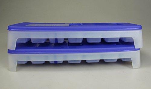 TUPPERWARE Gefrier-Behälter Eiswürfler (2) Eiswürfel-Behälter + Deckel lila blau